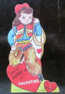 Vintage UNSIGNED Die Cut Valentine Card COWGIRL WITH ROPE - YOU'VE ROPED ME IN