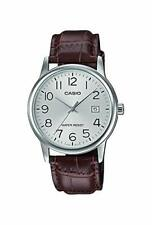 Casio Men's Standard Stainless Steel Brown Leather Watch MTPV002L-7B2