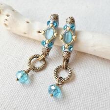 Michal Golan Turquoise Blue Cat's Eye Swarovski Crystals Long Dangle Earrings