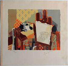 Lithographie post cubiste signature à déchiffrer 45 x 43 cm N°28/60