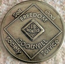 Vintage 91 WSO 18 Mos Narcotics Anonymous NA Medallion Coin Token Sobriety Clean