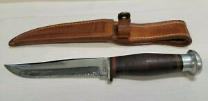 CASE Fixed Blade Knife Hunting Belt Sheath Leather Stag Handle 1940-1964