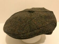 SCOTTISH HARRIS TWEED DARK GREEN HERRINGBONE 4 QUARTER SCOTS FARMERS FLAT CAP
