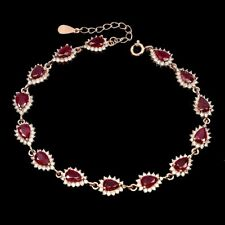 Pear Red Ruby 6x4mm Cz 14K Rose Gold Plate 925 Sterling Silver Bracelet 8 Inches