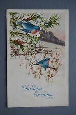 R&L Postcard: Christmas Greetings, Kingfisher Type Bird, Rural Scene, Gibson Art