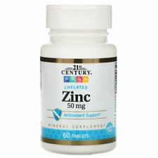 21st Century Chelated Zinc 50 mg - 60 Tablets (free same day shipping)