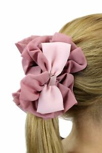 Pink Bows Fabric Spanish Hair Rose Hair Rosette With Butterfly Clip Z026