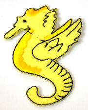 YELLOW SEAHORSE SEA HORSE   Embroidered Iron Sew On Cloth Patch Badge APPLIQUE