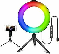 3T6B - Ring Light LED RGB de 6 Pulgadas con trípode Ajustable y Regulable con