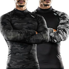 DRSKIN Men Compression Long Sleeve Shirts Base Layer T Mock Neck Top Gym Workout
