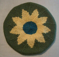 Child 2-4 yr Hand Knit Worsted Wool Knit Picks Yarn Beret Tam Hat Green Flower