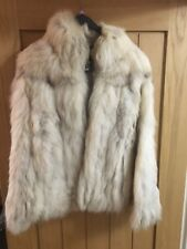 Saga Silver/Cream Real Fox Fur Jacket, Luxury Jacket Ladies Size 12