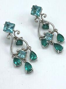 Ross Simons Blue Green Topaz Sterling Silver Chandelier Earrings