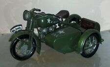 Old Vintage Green Tin Metal Toy Motorcycle Side Car Cabin Man Cave Home Decor