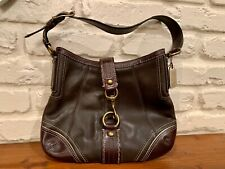 Coach Small 11362 Hamptons Brown Leather Lobster Claw Shoulder Hobo Handbag