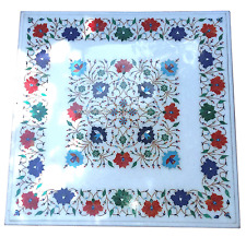 "24''x24"" White Marble Square Coffee Table Top Lapis Inlay Floral Art Decor H2926"
