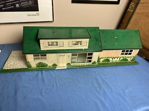Vintage Marx Tin Litho Metal Dollhouse Ranch Mid Century Modern One Story Home