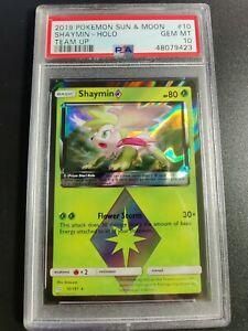 Shaymin Prism Star Holo   PSA 10 GEM MINT   2019 Team Up #10   Pokemon