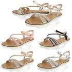 Womens Ladies Summer Diamante Sandals Holiday Beach Ankle Strap Open Toe Shoes