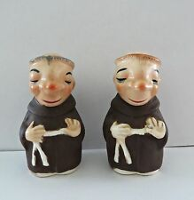 Vintage 50s Friar Tucks Monk Priest Salt & Pepper Shakers Japan RARE!