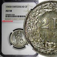 Switzerland Silver 1945 B 2 Francs NGC AU58 Helvetia KM# 21 (028)