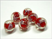 6 lampworkperlen circa ROSSO ROSE 12mm perline di vetro perle
