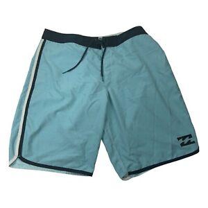 Billabong Mens Originals Drawstring Flat Front Blue Swim Trunks Size 38