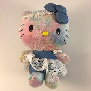 "Build a Bear Hello Kitty Purple Tie Dye Love BABW Stuffed Plush RARE w/ Dress 7"""