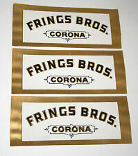 Lot 3 Frings Bros Corona Gold Foil Tobacco Cigar Box Label Unused NOS New 1940s