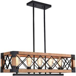 Wooden 5-Light Rectangular Cage Chandelier Pendant Lamp Kitchen Island Lamp E27
