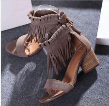 Womens Fringe Sandal Gladiator Mid Heel Tassel Roma Peep Toe Chunky Summer Shoes
