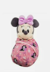 """NEW Disney Parks Minnie Mouse Babies Blanket Pouch Baby 10"""" Plush Doll NWT"""