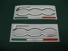 2 Domed Fiat 500 Door pillar stickers Chrome Effect with Italian Flag