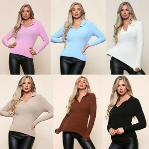 Women's Collar V-Neck Knitted Top Ladies Ribbed Winter Jumper Tops New