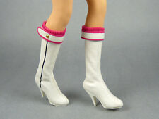 1/6 Scale Phicen Sexy Female Pink Trim White Leather High Heel Boots w/Foot Pegs