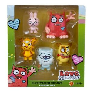 Love Monster and Fluffytime Friends 5 x Plastic Figurine Play Set Figures - New
