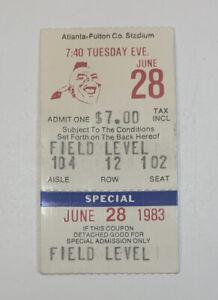 1983 Atlanta Braves v Houston Astros Ticket Stub Fulton Co 6/28/83 Nolan Ryan W
