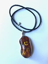 Big Amber Pendant On Sterling Silver 925 With 18'' Leather Cord Necklace