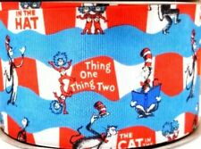 """5/8"""" 2 YARDS Thing 1 2 Cat in the Hat Grosgrain Ribbon Dr Seuss Bows Crafts"""