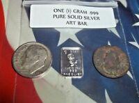Authentic Ancient Roman Coin, 1 gram .999 Silver Mini Art-Bar, & 90% Silver Dime