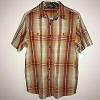 EUC The North Face Men's Short Sleeve Button Down Casual Plaid Shirt Size Medium