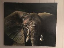 Artist Jan Hermeler Authentic Oil On Canvas Elephant Head Painting, 36x30 Inches