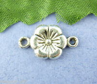 50PCs Gift Silver Tone Flower Connectors Findings 10*18mm
