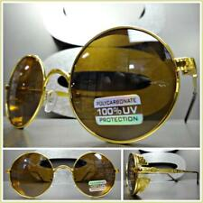 CLASSIC VINTAGE Steampunk RETRO Style SUN GLASSES Round Blinder Gold Metal Frame