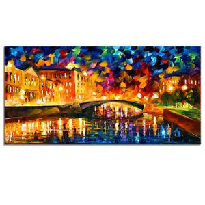 Modern Canvas Prints Night Bridge Oil Painting Poster Art Wall Decor-No Frame
