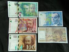 Lot de 5 billets Souvenir Dernière Gamme 20 / 50 / 100 / 200 / 500 Francs Curie