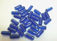 30 perles tube en verre bleu foncé 9 x  4 mm