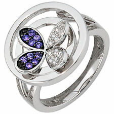 Echter Ringe aus Sterlingsilber mit Amethyst-Hauptstein für Damen