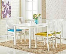 Miami Dining Set - White Table and 4 Chairs Seater Modern Elegant Miami Blue