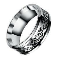 Mode Silber Celtic Dragon Titan Edelstahl Männer Hochzeit Band Ringe Fashi Q2I2